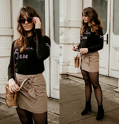 Tonya S. - Shopbop Bella Frued Top, Isabel Marant Tie Skirt, Wolford Tights - Wearing a Skirt in Winter