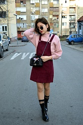 Marija M. - Shein Corduroy Dress, Zaful Pink Sweater - Red corduroy dress