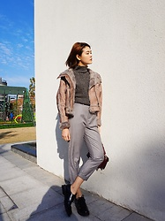 Lina Lee - Slash Dash Real Leather Jacket, Slash Dash Knitwear, Slash Dash Casual Pants, Studio Lee Oxfords - Fur Fur Fur