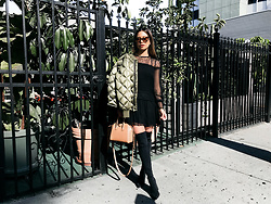 Jessi Malay - Ramy Brook Watson Chantily Lace Dress, Raye Farley Boot, Nlst Quilted Bomber Jacket, Dita Erasur Sunglasses - Winter In LA