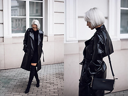 MONIKA S - Vinyl Trench Coat, Over The Knee Pointy Toe Boots, Turtleneck Bodycon Dress, Leather Mini Clutch - SIMPATICO