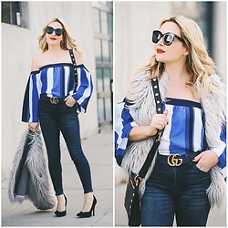 Zia Domic - Cece By Cynthia Steffe Blue Striped Top, Sts Blue Skinny Jeans - Striped Blues