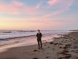John Castillo - Uniqlo Tshirt, Uniqlo Trousers, Adidas Trainers - Sunset Sky