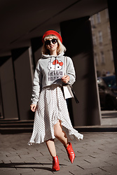 Esra E. - Mango Polka Dots White Midi Dress, Zara Red Pointy Vegan Leather Booties, H&M Grey Hello Kitty Hoodie - Hello kitty