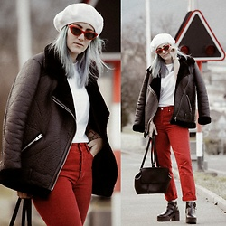 Doina M. - H&M Red Mom Jeans, H&M Winter Jacket, Bershka Backpack, Bershka Ankle Boots, Urban Outfitters Cat Eye Sunnies, H&M Wool Beret - FRENCH VIBES