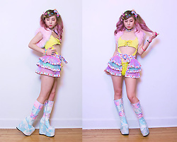 Lovely Blasphemy - 6%Dokidoki Hair Accessories, Pawstar Pink Faux Fur Shrug, 6%Dokidoki Skirt, Current Mood Deep Dive Platform Boots, Pawstar Holographic Collar - I am part of a light, and it is the music