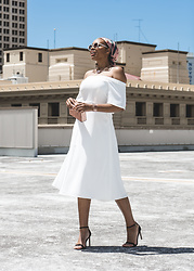 Aicha R. - Witchery Off Shoulder Flutter Dress, Witchery Silk Sketch Scarf, Witchery Demi Acetate Necklace, Witchery Marion Sunglasses - Summer Daze