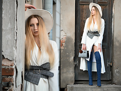 Milady Sandy - Zaful Bag With Pompom, Sammydress Over Knee Denim Boots, Sammydress Checked Belt, Bershka Hat, Asos Shirt Dress - Denim&White&Checked.