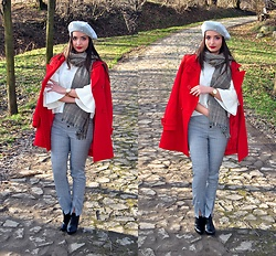 Natalia Uliasz - Mohito Beret With Pearls, Zaful Checked Scarf, Zaful Sweater With Pearls, Zaful Checked Pants - The perfect duo: grille and pearls