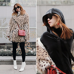 Rekay Style - H&M Leopard Faux Fur Coat, Zara Velvet Hoodie Dress, Marni Red Mini Bag, Raye White Booties - Faux Fur Coat
