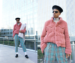 Dominic Grizzelle - Urban Outfitters Faux Fur Jacket, Urban Outfitters Plaid Trousers, Kangol Beret - Happy Monday