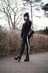 Amy Souter - La Moda Platform Boot, Zara Black Cigarette Trousers, Primark Oversized Jumper, Primark Pvc Bag - Back To Basics