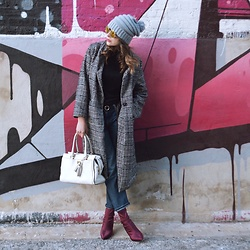 Fashionlingual, Desirée - Shein Plaid Coat, Current/Elliott Jeans, Zara Booties, Coach Bag - Plaid Coat & Sock Booties