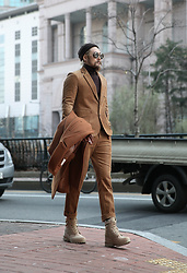INWON LEE - Byther Brown Corduroy Blazer, Byther Brown Corduroy Trousers, Byther Beige Military Combat Boots, Byther Brown Beanie Cap, Byther Brown Shearling Coat - The classic comes from corduroy