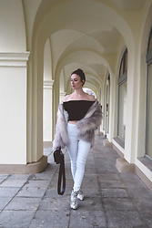 Anna Puzova - H&M Fur Jacket, Zaful Top, Light In The Box Jeans, Rosegal Boots, Stuudio Nahk Bag - OFFBEAT JANUARY