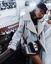 Jenny Danilkova - Mango Jacket, Asos Cap, Lightinthebox Bag - Silver jacket