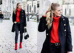 Sunnyinga - Miss Selfridge Coat, H&M Turtleneck, Reserved Skinny Jeans, H&M Red Boots, Hamburg Mode Velvet Bag, Loavies Belt - Red x Black Outfit - Red Boots