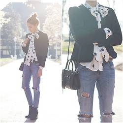 Marijana M - H&M Black Tweed Jacket, H&M Polka Dot Blouse, Zara Distressed Boyfriend Denim, H&M Black Bag, Bershka Black Ankle Boots - Polka dots