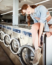 Ms. Morgan Ryan - J. Crew Denim Shirt, Me Undies Bralet, Nbd Maxi, Vans - HANG TO DRY