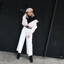Dominique Malinowska - Topshop Pink Beret, Urban Outfitters Wide Cropped Denim Trousers, Public Desire Black Sock Boot - Pastel
