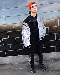 Peter Jones - River Island Jacket, River Island Jumper, River Island Trousers, River Island Beanie, Acne Studios Shoes - Riverislandxbloodbrother