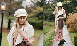 BG by Christina L - Just Fashion Now Faux Shearling Vest, Rosegal Knit Newsboy Cap, Floral Maxi Dress, Modcloth Brown Lace Up Boots - Floral + Shearling