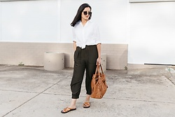 Shann V - Layer'd Arte, Layer'd Gwen, Alias Mae Leather, Unlabelled Criss Cross - Linen Shirt & Silky Pants Combo