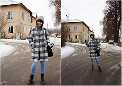 Yana Bezdushna - Zolla Grey Hat, Zaful Coat, Rosegal Bag, O'stin Jeans, No Name Boots, Be Free Golf - Total Grey