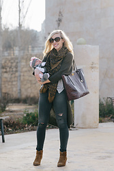 Meagan Brandon - Long Cardigan, Brahmin Tote, Similar Jeans, Frye Boots - Casual Style for New Moms