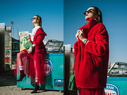 Andreea Birsan - Red Midi Tulle Skirt, Socks, Heeled Black Sock Boots, Red Faux Fur Coat, Watch, Green Suede Bag, Gold Hoop Earrings, Retro Sunglasses, Gucci Logo Vintage T Shirt - How to wear a tulle skirt