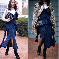 Monica Awe-Etuk -  - AWED BY MONICA:  SLIP DRESS & LEOPARD COAT