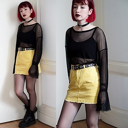 Lea B. - Forever 21 Top, Forever 21 Skirt, Bershka Belt, Dr. Martens Shoes - Grunge Yellow