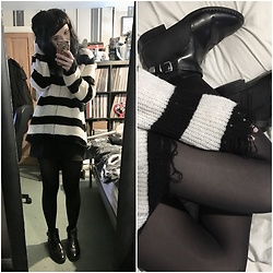Idolsandanchors - H&M Studded Buckle Boots, Rokoko Oversized Distressed Striped Jumper, H&M Zip Up From Skirt - An Agreement Called Forever