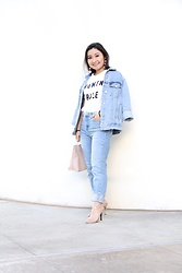 Kristen Tanabe - Forever 21 Women Rule T Shirt, Topshop Straight Jeans, Topshop Over Sized Denim Jacket, B.P. Ring Handle Purse, Baublebar Crispin Earrings, Stuart Weitzman Rose Gold Heels - Women Rule