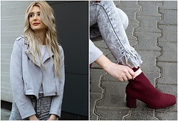 Sofija Surdilovic - Zaful Belted Cropped Faux Suede Jacket, Chrystal Closet Fringe Gray Jeans, Rosegal Red Wine Boots - Fringe fringe