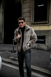Dennis Van Peel - Urban Outfitters Teddy Jacket, H&M Classic Pants, Zara Black Turtleneck, Komono Black Sunglasses - Fluffy Green Jack