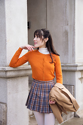 Carolina Pinglo - H&M Orange Cardigan, Romwe Plaid Skirt, Le Chateau Turtleneck - Orange Plaid