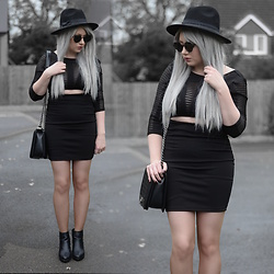 Sammi Jackson - Primark Black Fedora, Zaful Sunglasses, Fashion 71 Mesh Cutout Dress, Oasap Quilted Bag, Topshop Alexy Boots - MESH CUTOUT DRESS
