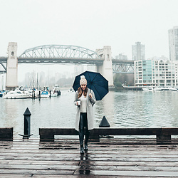 Alexandra G. - Aritzia Leather Leggings, Roma Rain Boots, Aritzia Wool Coat - Rainy Days