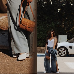 Morgan Jamie - The Fix Sa Tearaway Jeans, Wood Grey Hand Made Wooden Bag, Nine West White Mules, Asos White Ribbed Bodysuit - Denim duo