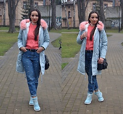 Natalia Uliasz - Rosegal Parka Jacket, Reserved Sweater, Reserved Jeans With Pearls, Zaful Bag, Deezee.Pl Baby Blue Boots - Baby blue parka jacket