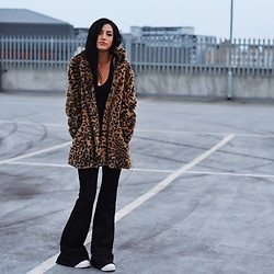 Jessica Revill - Zara Coat, Pretty Little Thing Flared Trousers - Leopards never change their spots