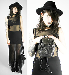 Maze - Shittyfucky Vintage Mesh Maxi Dress, Shittyfucky Vintage Mini Backpack - See Through Me