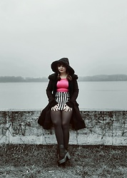 Weronika - Restyle Black Boots, Restyle Coat - A little bit of pink
