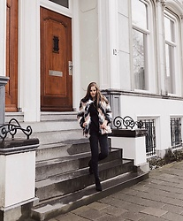 Maria B - Forever 21 Chevron Faux Fur Coat, Furla Mini Leather Crossbody, Zara Jeans, H&M Black Booties - Furry Jacket