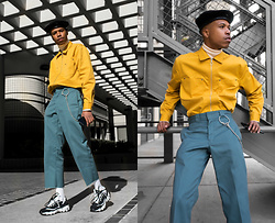 Dominic Grizzelle - Urban Outfitters Utility Shirt, Dickies Cropped Trousers, Sketchers Bulky Sneakers - Gumby