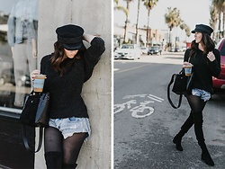 Stephanie Jenkins - Lack Of Color Black Cap, Elizabeth And James Petite Black Tote, Dolce Vita Tall Black Boots - Hat Of The Moment