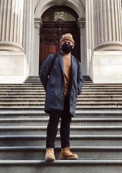 Calvin David - Banana Republic Coat, Uniqlo Inside Shirt, Uniqlo Pants, Timberland Boots - Ranger at the concrete jungle