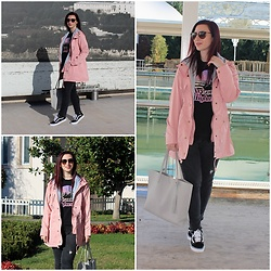 Rebel Takipte - Zaful Pink Jacket, Jolly Chic Van Sneakers - Pink Jacket