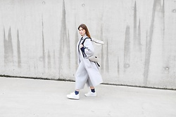 Sofie Rome - Ucon Acrobatics Backpack, H&M Grey Wool Coat, Native Youth Culottes, H&M Glitter Socks, New Balance White Sneakers - Backpack ready